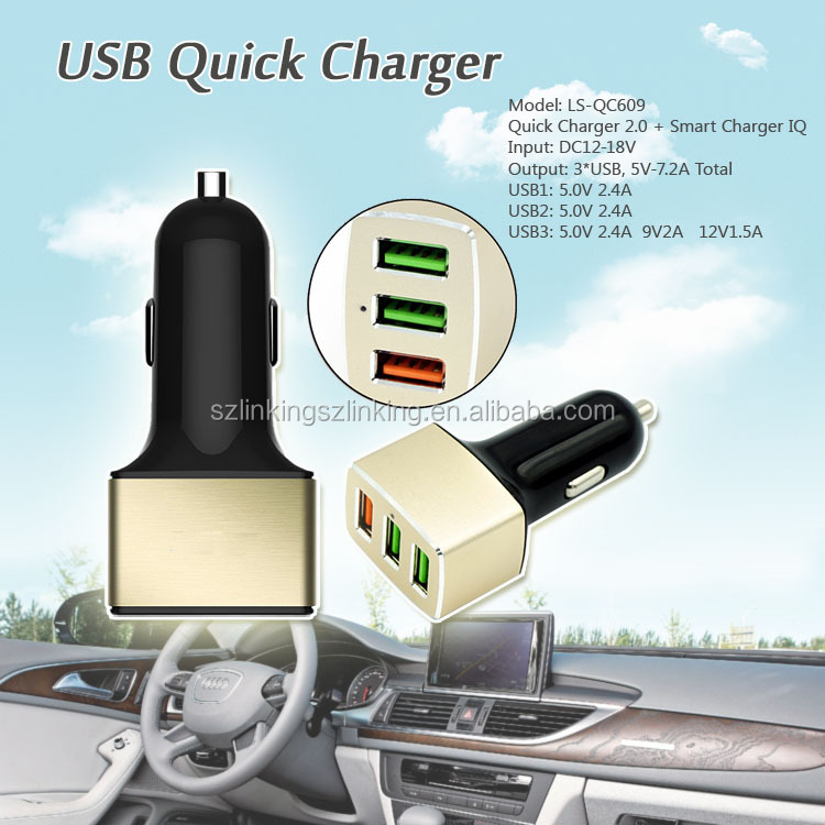 QC2.0 Charger 5~12V Quick Charger With 3 USB Ports For All Cars