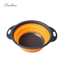 As Seen on TV BPA-Free Kitchen Food Strainer Container, Foldable Silicone Plastic Colander and Bowl