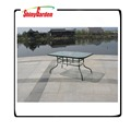 iron rectangular dining table,outdoor garden furniture with tempered glass