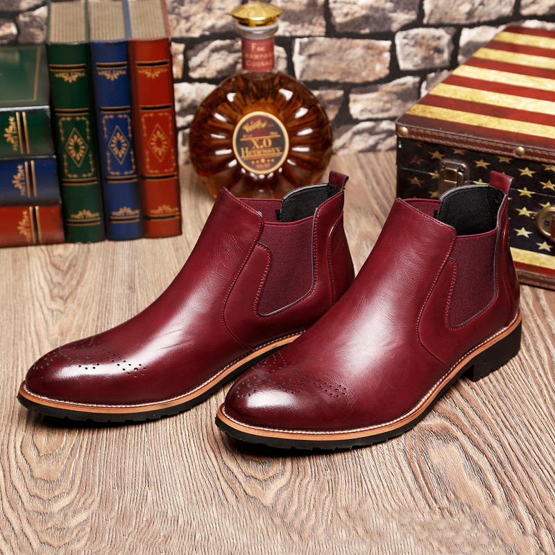 2018 autumn and winter men's shoes Chelsea ankle <strong>boots</strong> Brock carved men's <strong>boots</strong> men's Martin <strong>boots</strong>