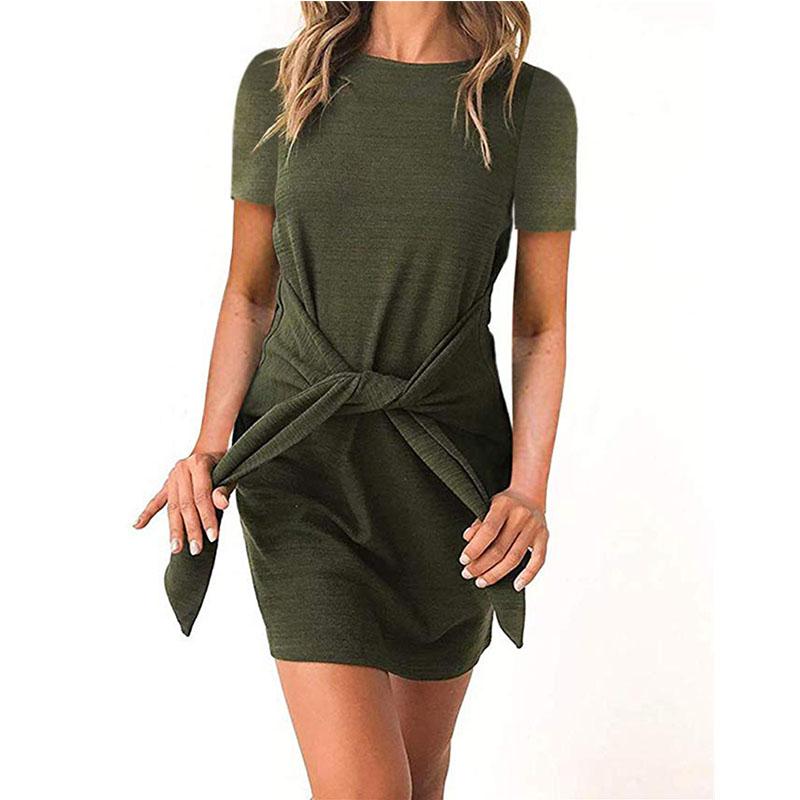 2019 New Arrival Wholesale Women  Summer Casual Maxi Dress Sexy Short Sleeve Party Mini Dress