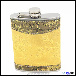 hot selling golden leather portable stainless hip flask