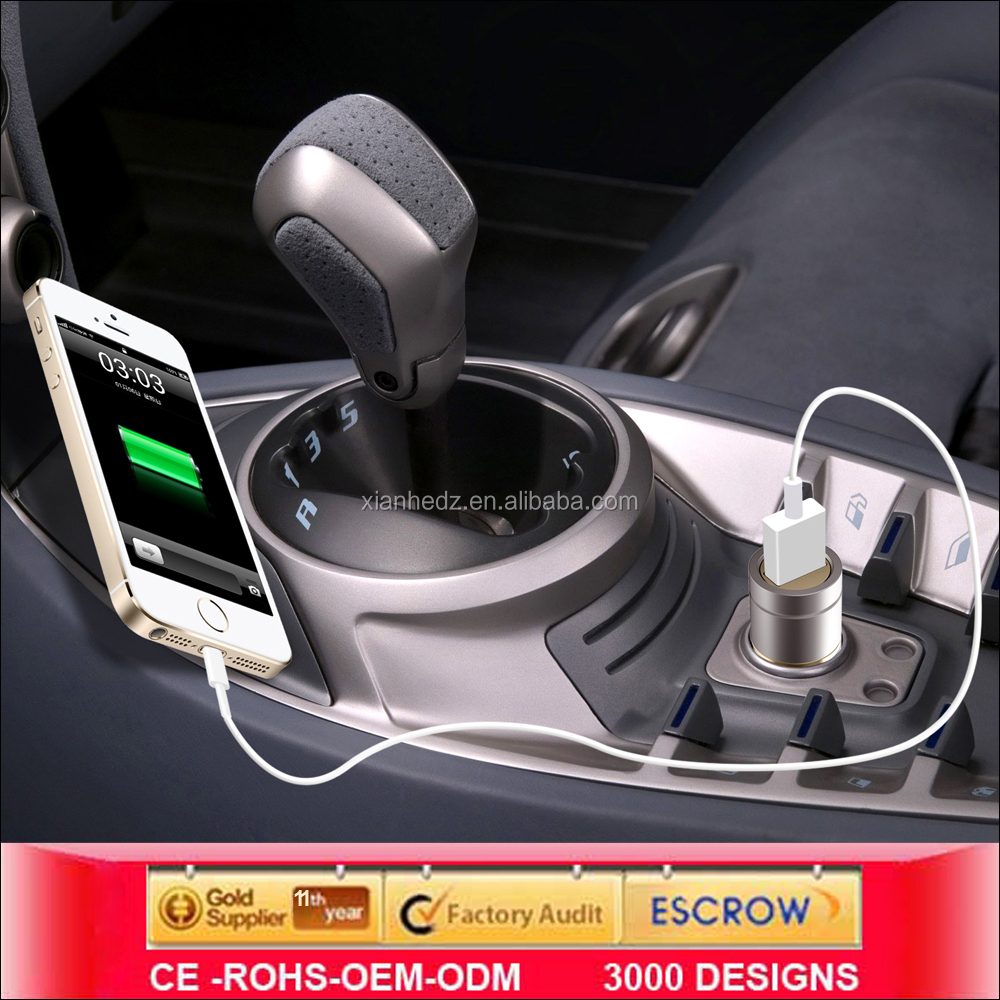 High Quality Best Sale Promotional 5V 2.4A Dual USB Car Charger,without contactor car charger,metal charger