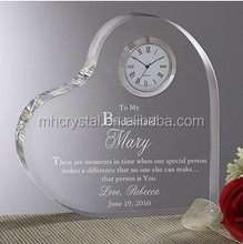 Heart shape personalized crystal clock with 3d laser lgo MH-C0062