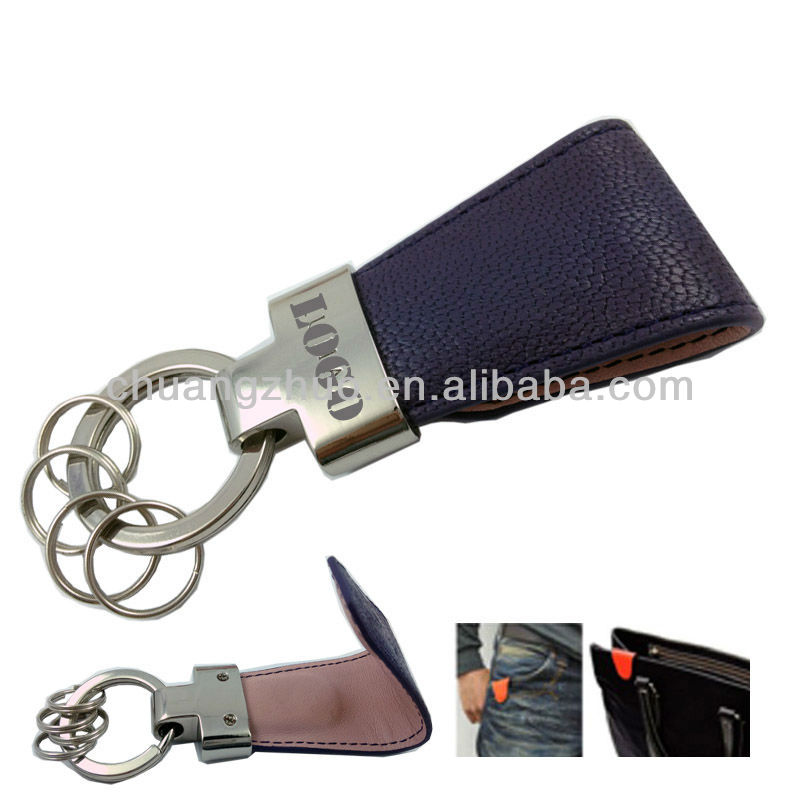 Genuine leather magnetic purse key holder with logo