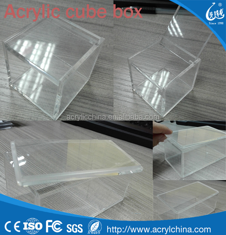 2016 new launch clear acrylic cube boxes