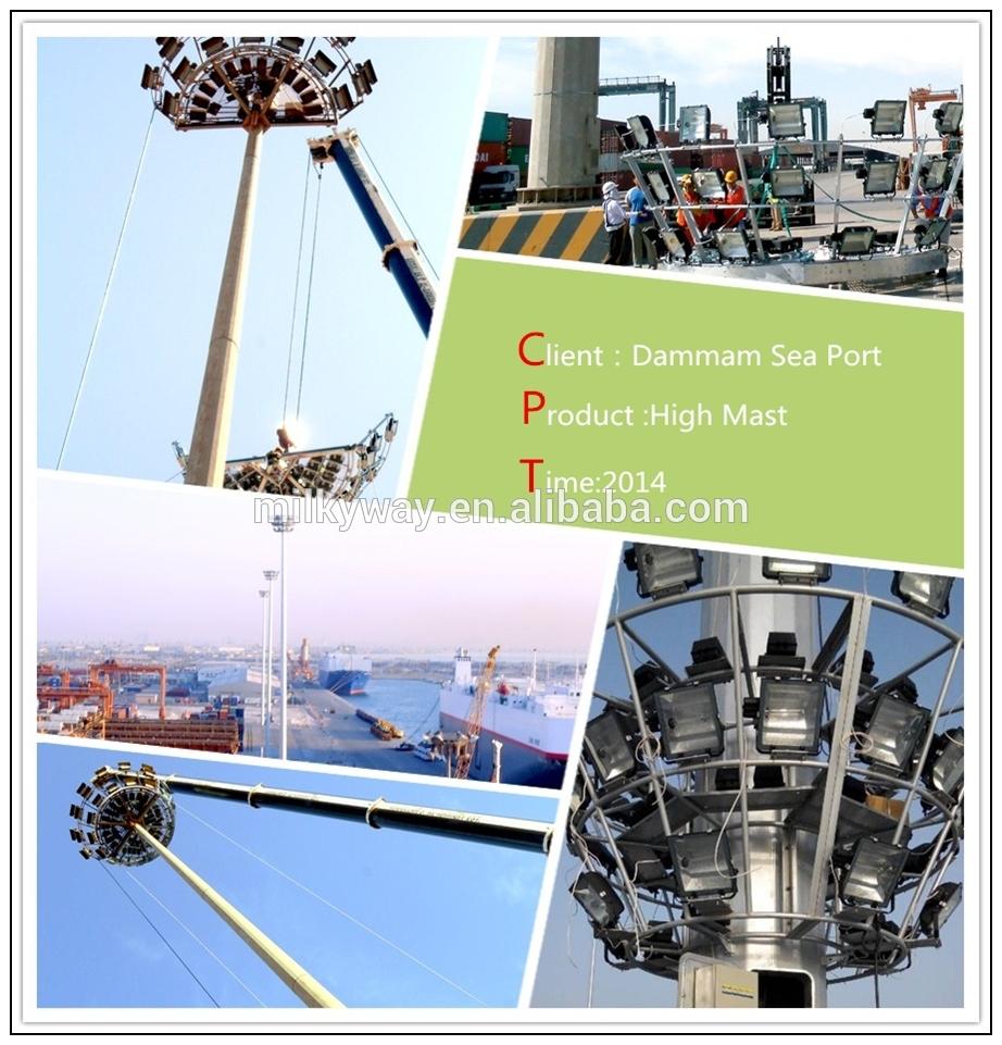 Stadium High Mast Lighting Pole With 30m Height Lowering