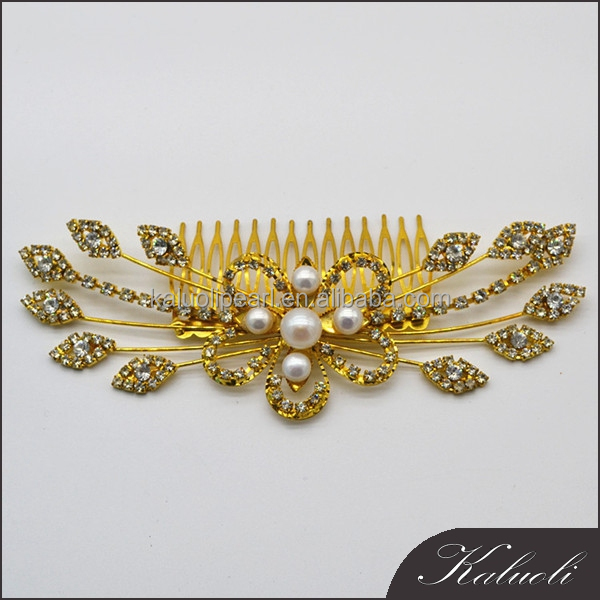 Golden rhinestone freshwater pearl bead hair accessories wedding pin