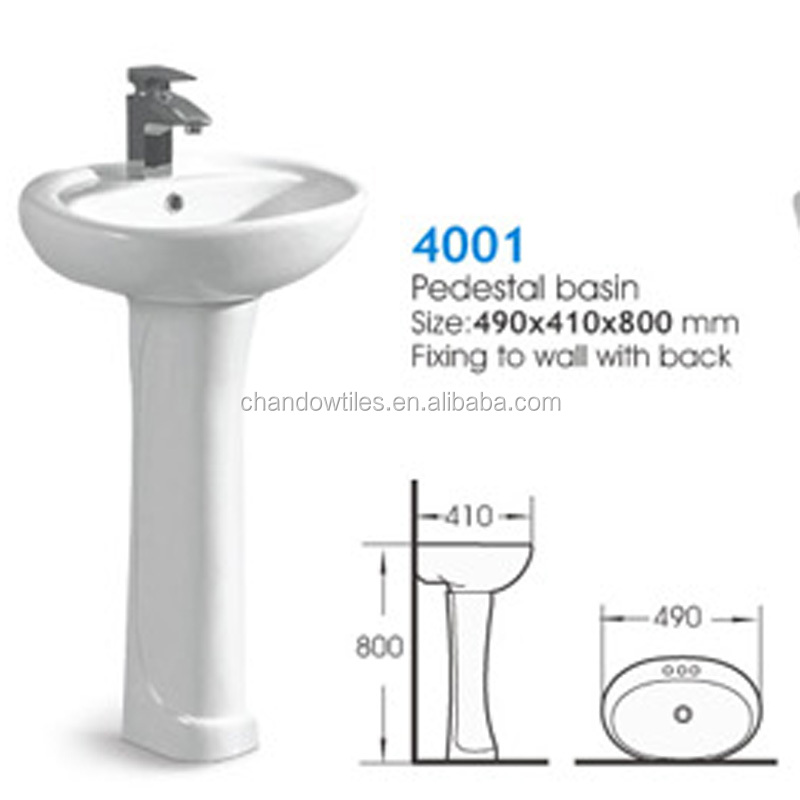 G001 White ceramic publick use pedestal basin