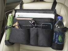Black Car Seat Organizer With Mesh Pockets