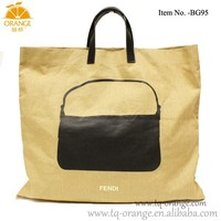 Linen Shopping Tote Bag Black Leather