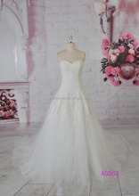 2016 guangzhou new arrvial sweetheart A line applique lace hot sell wedding gowns