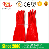 Red Long Sleeve PVC Coated Household Rubber Gloves For Washing