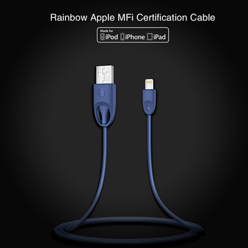 Original Baseus Rainbow MFI Certification Cable Series TPE+PC 5V/2.4A Data Cable For iPhone 6S/6S Plus PB-185