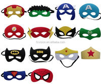 Wholesale half face masquerade kids super hero soft felt eye masks