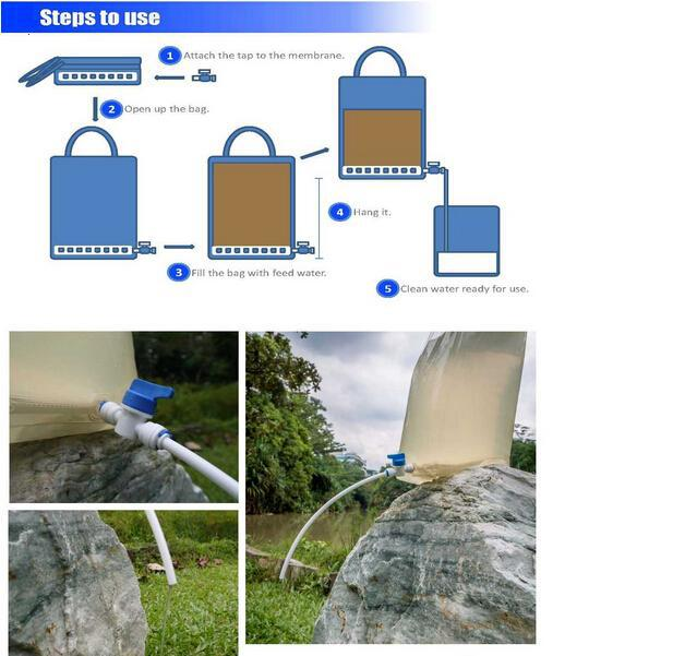 portable personal camping survival ceramic water filter bag for outdoor