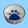 Personalized Small Blue Ceramic Dog Feeder