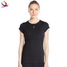 Womens Polyester Spandex Sport T Shirts And Zipper Closure O Neck Fitness Wear