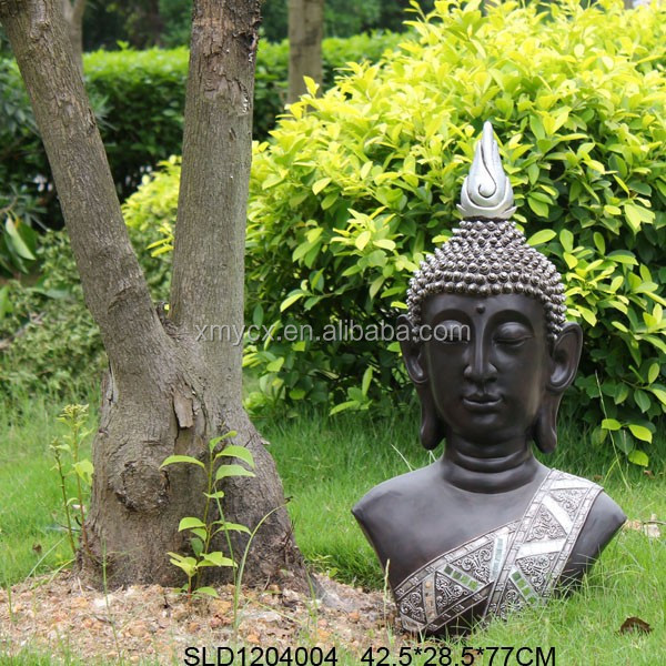 Fiberglass large garden buddha head in sculptures