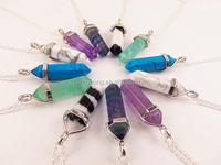 925 sterling silver chain natural amethyst crystal gemstone point pendant