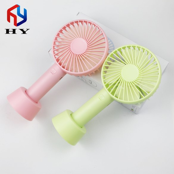 2018 New Portable Mini Handled Desk Rechargeable Fan with Removable Base