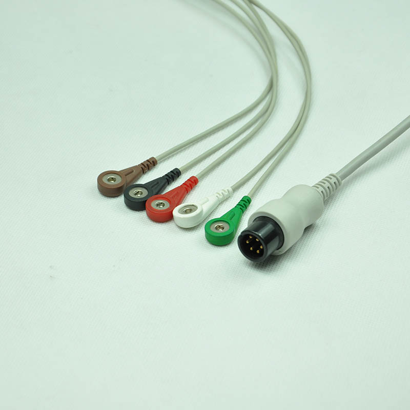 Nihon Kohden 5 leads EKG cable with snap 4.0mm plug