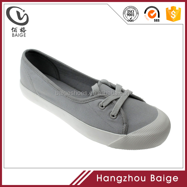 2017 latest design lace up grey round toe boat canvas shoe for women