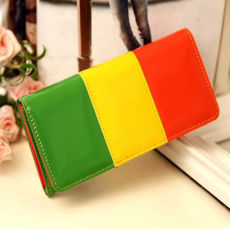Bright Plum Long Colorful PU Zipper Women Wallet