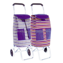 RW6206 China Shopping Bag Factory Supply Portable Folding Shopping Trolley Bag With Wheels And 2 Front Pockets