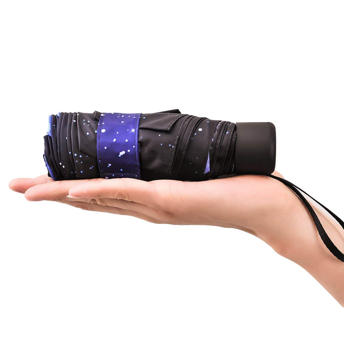 Hot Starry Sky Print Inside 5 Folding Compact Mini Umbrella