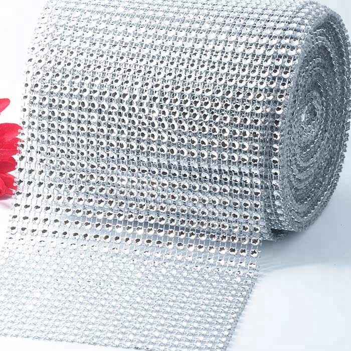 <strong>Plastic</strong> 4.65 inches <strong>X10</strong> yards acrylic sparkle diamond mesh ribbon silver diamond wrap ,