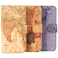 World map pattern magnetic pu leather wallet case for samsung galaxy S7 edge