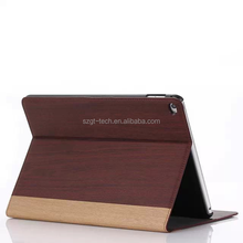 Bamboo natural wood pattern flip smart cover PU leather case for iPad air 2