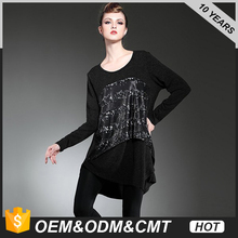 Women's Long-Sleeved Round Neck Irregular Knitted Loose Sequin Dress