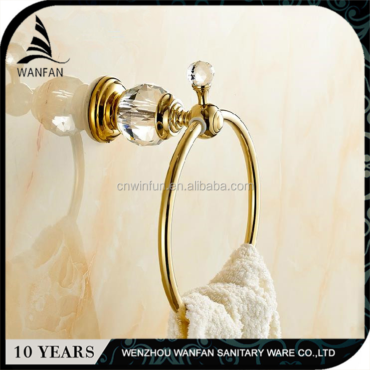 Bathroom accessory crystal GOLD brass towel ring