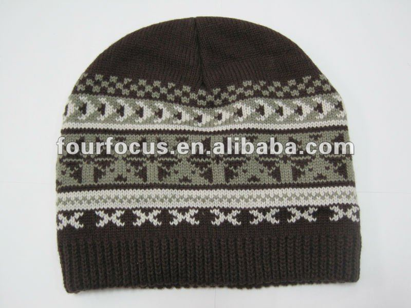 100% acrylic knitted beanie/winter warmer acrylic knitted hat