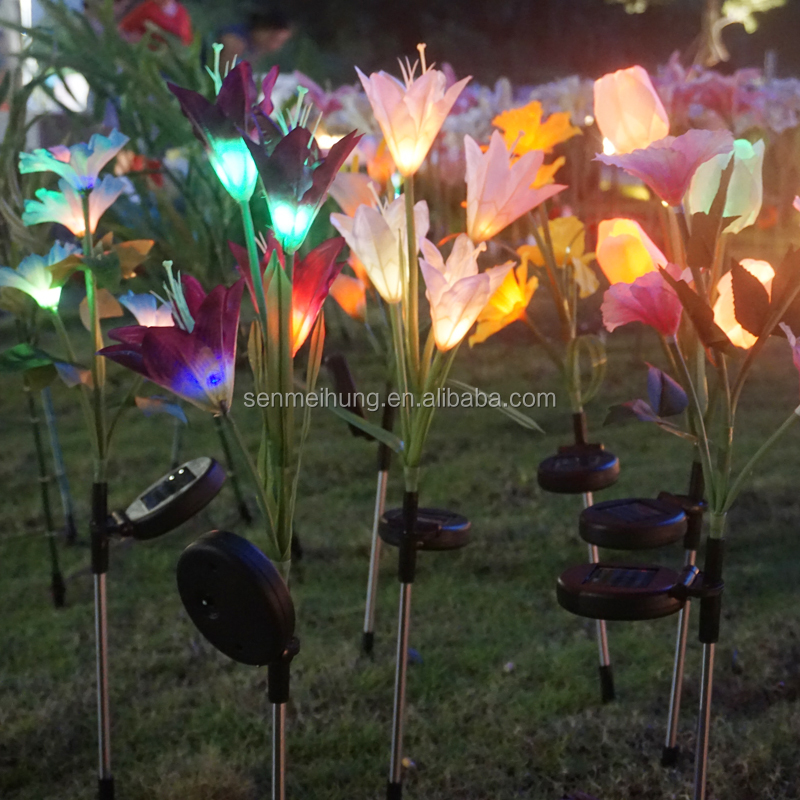 Outdoor Tuin Waterdichte solar light stake LED kunstmatige bloem