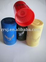 Colorful top-opening plastic vodka or wine bottle cap
