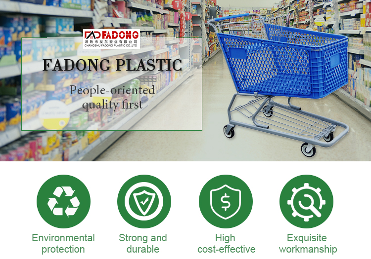 fast supplier wholesale supermarket plastic shopping trolley