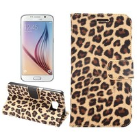 High Quality Leopard Print Stand Wallet PU Leather Case Cover for Samsung Galaxy S6