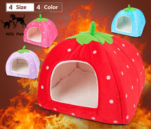 Funny cute felt dog cat house bed pet furniture strawberry pet house