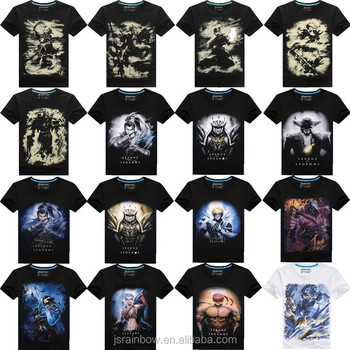 Custom made 100% cotton LOL game characters 3d digital print men t shirt custom t shirt printing