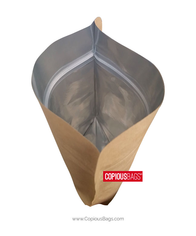 Disposable stand up kraft paper bag foil lamianted snack paper pouch