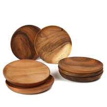 Cheap Sale Acacia Custom Logo Dish Set Dark Brown Round Wooden <strong>Plate</strong> For Restaurant