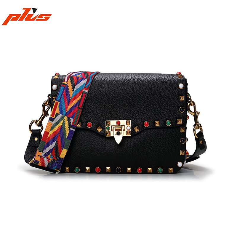 Wide Colorful Strap Fashion Genuine Leather Studded Cross Body Bag Guangzhou Handbag