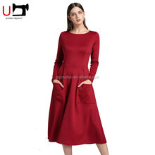 Elegant Two Pockets Long Sleeve Latest Formal Mid calf Length Fashion Woman Casual Dress