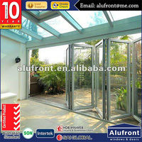 NZ standard sound insulation door double glass folding door inserts blinds/hinges folding sliding door