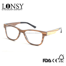 wood bamboo sunglasses & optical frames CE & FDA approved with custom made spring hinges