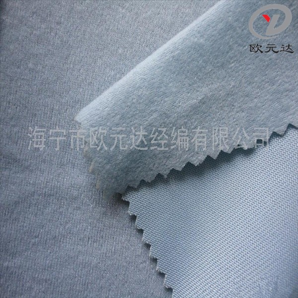 China 100 polyester high F loop velvet/ imitate cotton fabric one side brushed for base of leather,shoe-pad,kids garment