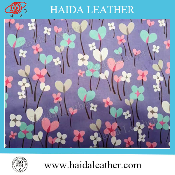 Printed vinyl leather/Artificial synthetic pvc leather for sofa textiles /stock offering
